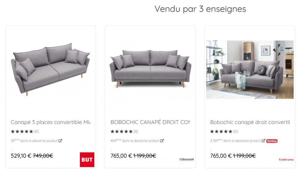 Une même référence de canapé vendues par 3 enseignes différentes. En un clin d'œil, on peut comparer le prix, les avis, les promotions et la photo du  produit.
