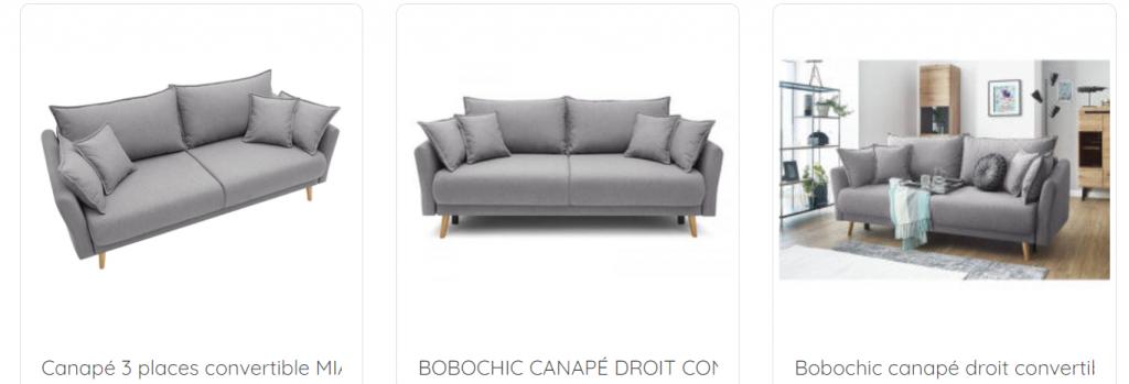 Capture d'écran de l'outil Retail Shake comparant les photos de fiches produits pour des canapés.