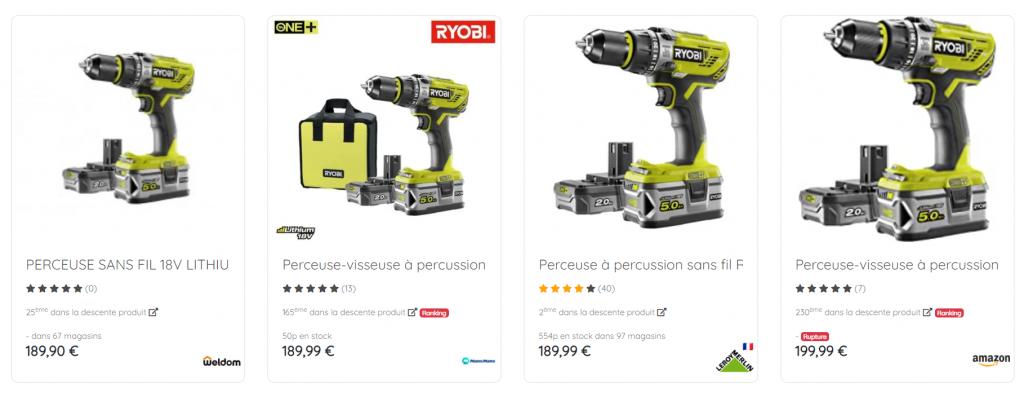 Capture d'écran de l'outil Retail Shake comparant les photos de perceuses dans leurs fiches produits.