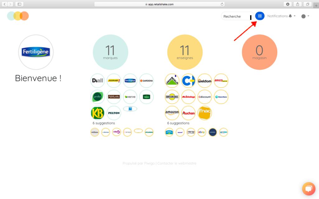 Tableau de bord de l'application Retail Shake